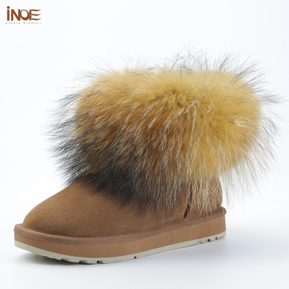 INOE Fashion Girls Cow Suede Leather Fox Fur Women Short Winter boots for Women Ankle Snow
