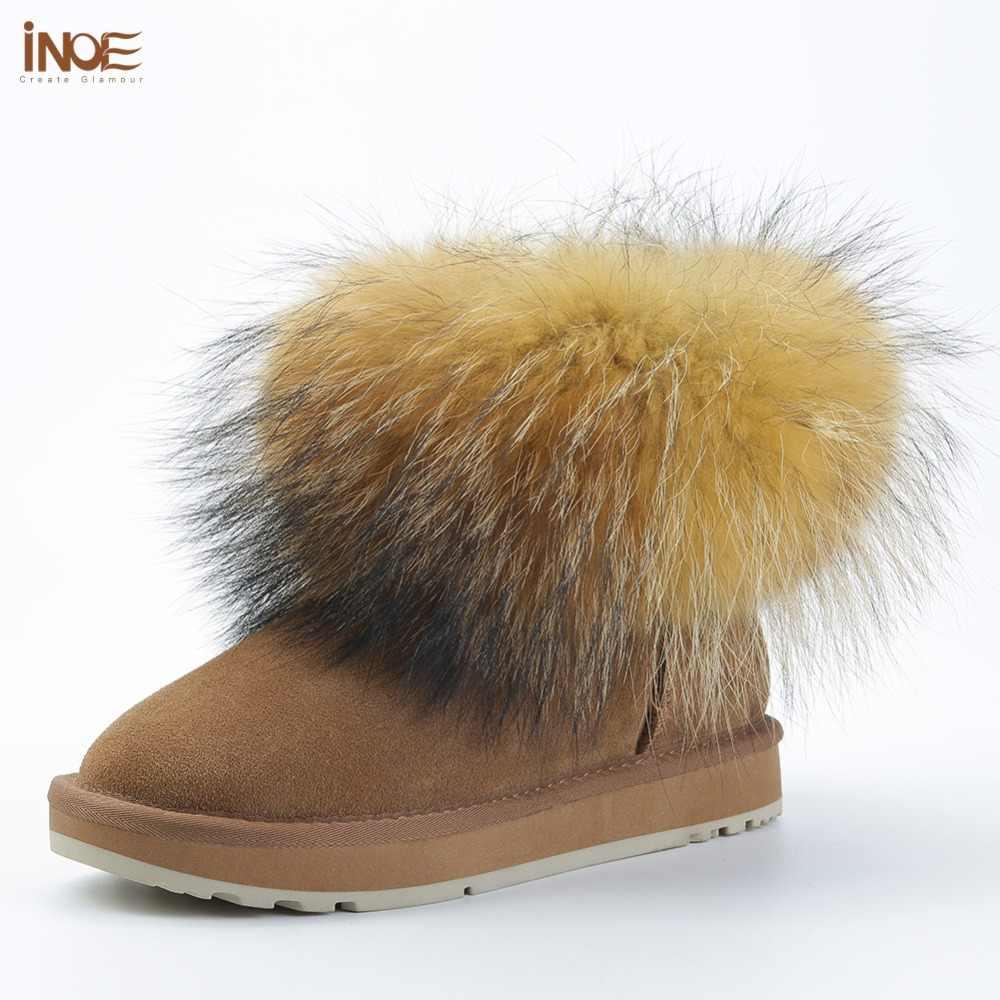 INOE kızlar moda inek süet deri ayak bileği tilki kürk kadın kış çizmeler kadınlar için kısa kar botları tutmak sıcak ayakkabı siyah kahverengi