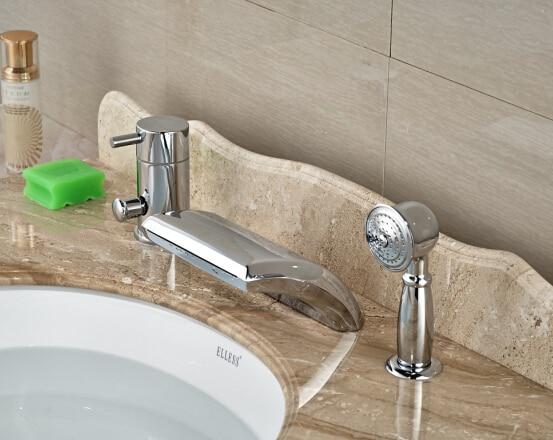 Modern Chrome Bathroom Basin Deck Mounted Sink Faucet Waterfall Mixer tap With Brass Hand Shower 3PCS bathroom faucet advanced modern glass waterfall contemporary chrome brass bathroom basin faucets sink mixer waterfall tap