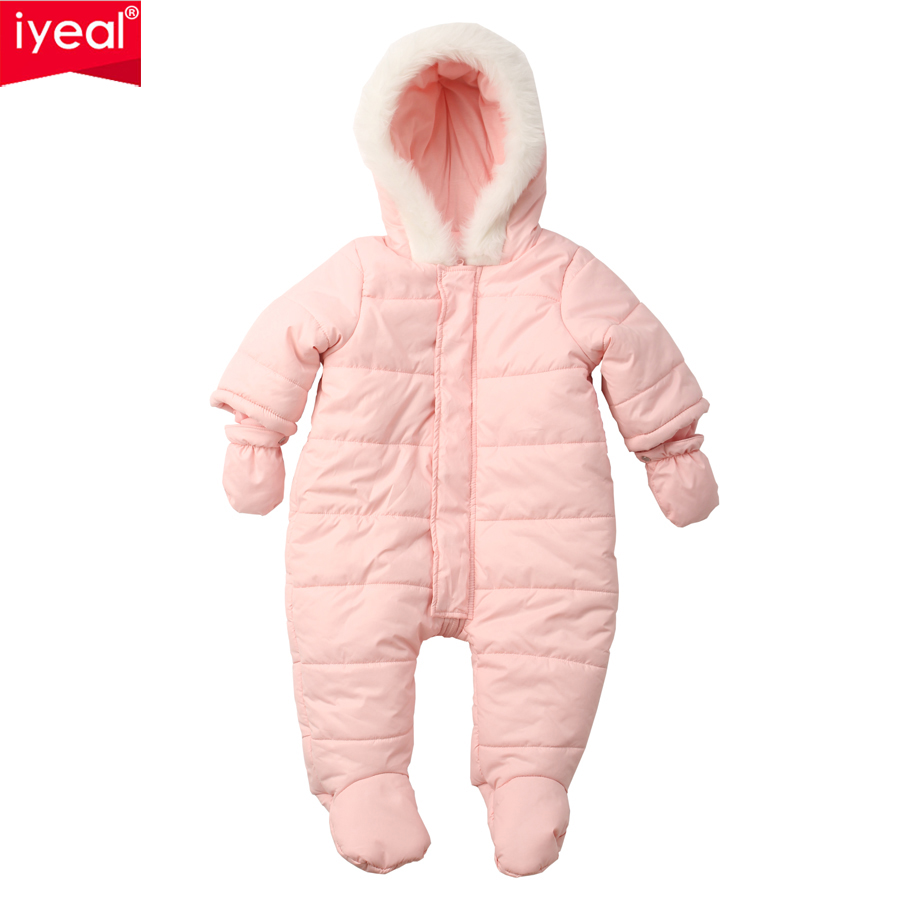 IYEAL Warm Newborn Baby Rompers Winter Baby Boy Girl Thick Jumpsuit Hooded Kids Outwear Overalls Infant Clothes for 0-12M 2017 newborn baby rompers warm winter cotton long sleeve ropa bebe infant girl jumpsuit set new baby boy clothes outwear 0 12m