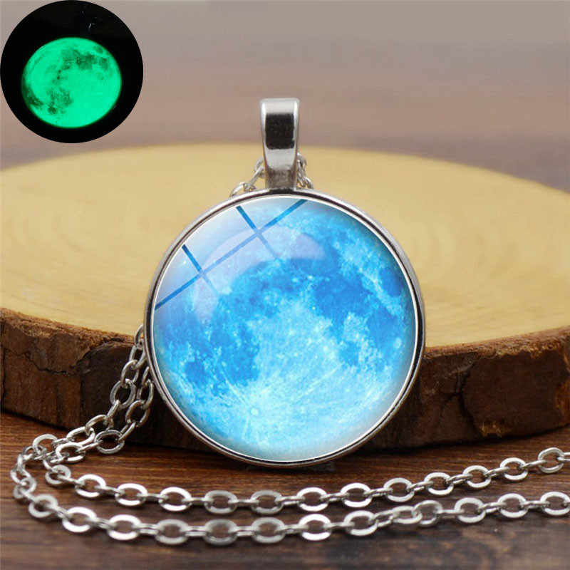 Galaxy Nebula Light Blue Moon Luminous Pendant Necklace Fashion Glass Cabochon Silver Chain Necklace Glow In The Dark Jewelry