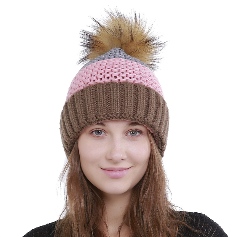 Women Men Single Layer Pleated Cap Rabbit Fur Ball Knit Thick Folds Warm Cute Color Matching Hat Year-End Bargain Sale