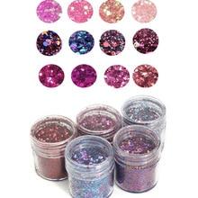 4สี/ชุดIridescent Nail Glitter MixชุดChunky & Fine 0.2 2มม.ผสมเล็บGlitterแป้งSequinsผงสำหรับUVเล็บArt