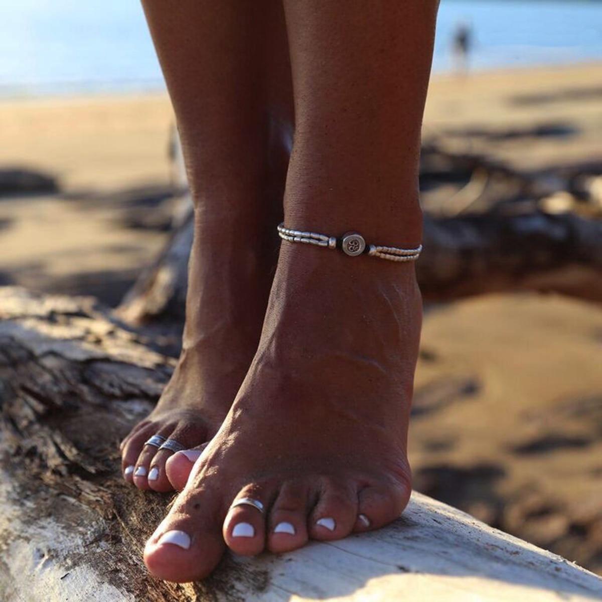 Vintage Bracelet Foot Jewelry Retro Anklet For Women Girls Ankle Leg Chain Charm Starfish Beads Bracelet Fashion Beach Jewelry