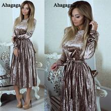 Ahagaga 2017 Autumn Winter Velvet Dress Women Fashion Solid Long Sleeve Regular O-neck Sexy Sheath Dress Women Dresses Vestidos