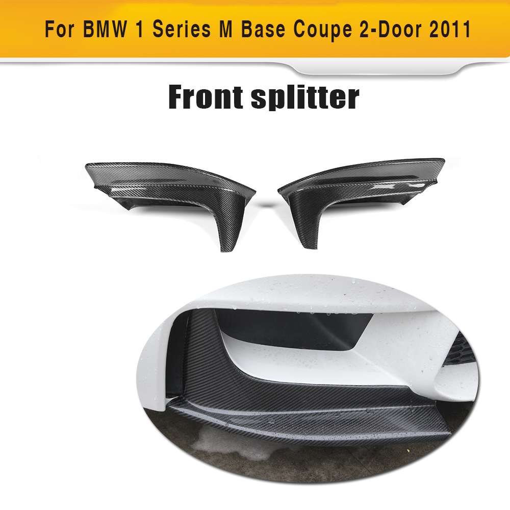 1 series carbon fiber front bumper lip splitters for BMW E82 M Base Coupe 2 Door 2011 P style