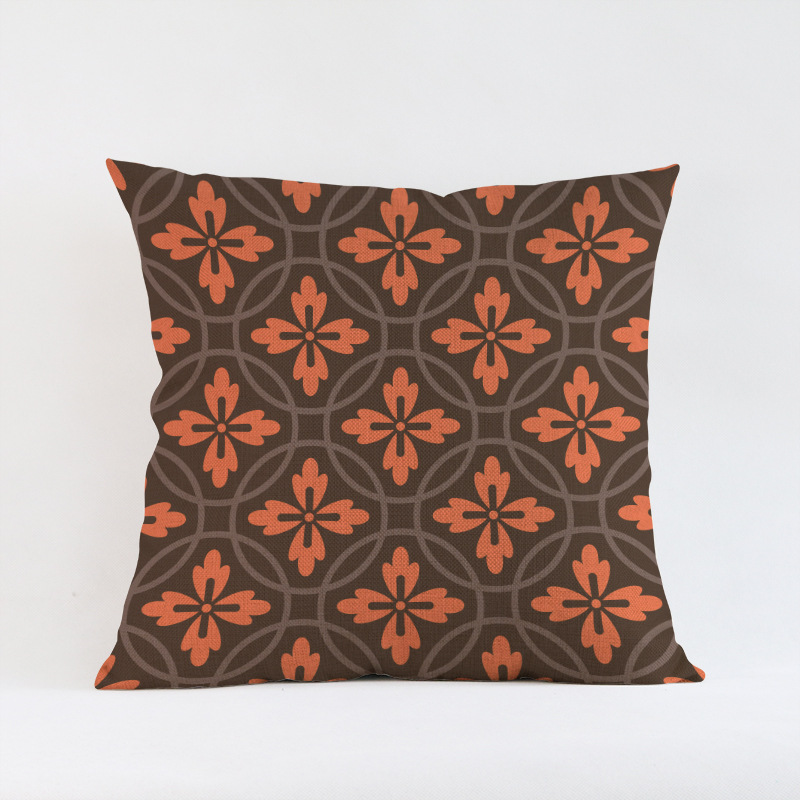 Europe Royal Style Orange Brown Color Sofa Throw Pillow High Quality Heart Flower Checks design Cotton Linen Seat Cushion 45*45
