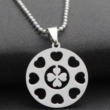 stainless steel lucky love heart four-leaf clover necklace petal flower small grass plant amulet geometric round
