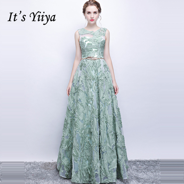 It s Yiiya Formal Evening Dresses O-Neck Sleeveless Light Green Lace  Fashion Floor length A-line Elegant Formal Dress LX1092 a6bd1748c73c