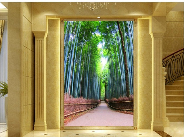 Behang In Badkamer : D behang voor kamer bamboe bos landschap photo muurschilderingen
