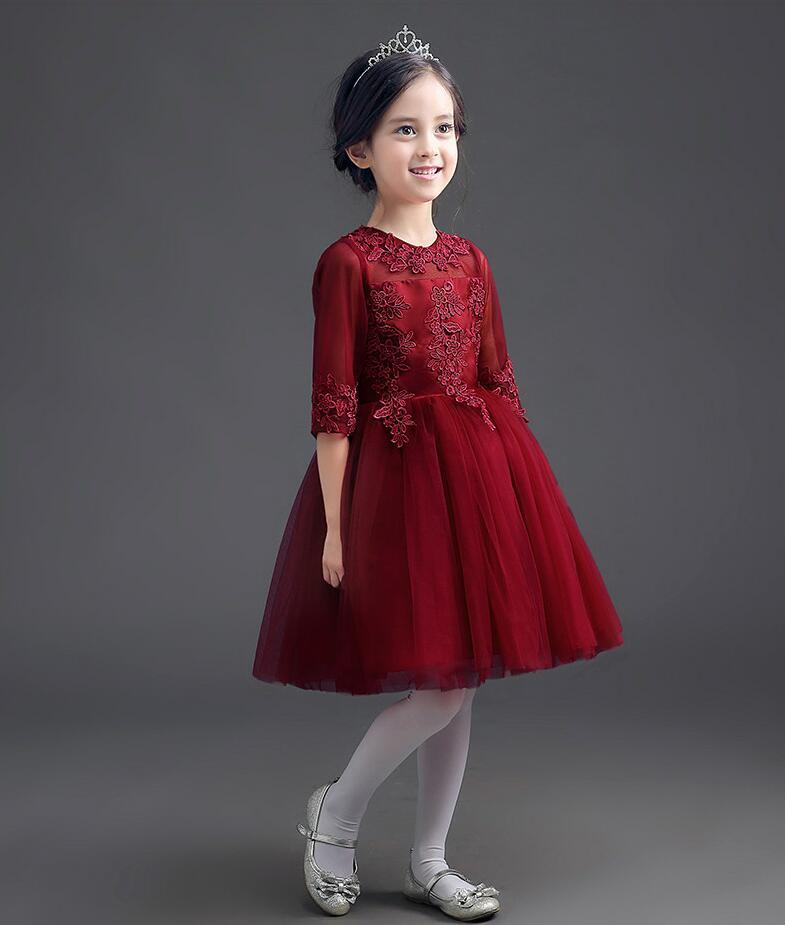 Fleur appliques robe bourgogne enfant fille à manches longues robe de mariée dentelle maille princesse fête robe de bal vêtements tutu costumes YY53