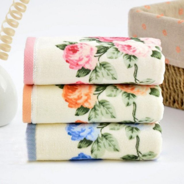 35 75cm 4pcs Printed Rose Cotton Hand Towels Set Luxury Terry