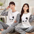 5030 Cotton material Couples Casual style Sheep pattern Long Sleeves Pajama set