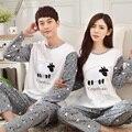 Material de Algodón 5030 Parejas estilo Casual patrón de Las Ovejas de Manga Larga Pijama conjunto
