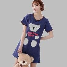 Plus Size Cartoon Nightshirt Women Nightgowns Summer Short Sleeve Casual Sleepwear Female Night Dress Sleepshirts 8 Styles