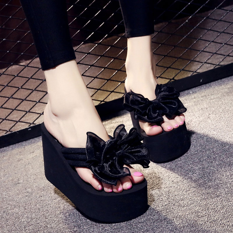 593935644405 JOYHOPY Super High Heels EVA Platform Shoes Women Bowtie Bowknot Slippers  Outside Slides Girls Beach Wedges Flip Flops AWS057-in Flip Flops from Shoes  on ...