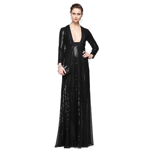 8eca6d31fb3c TS Couture Sheath / Column Plunging Neckline Floor Length Sequined Formal  Evening Dress with Sequin Pleats