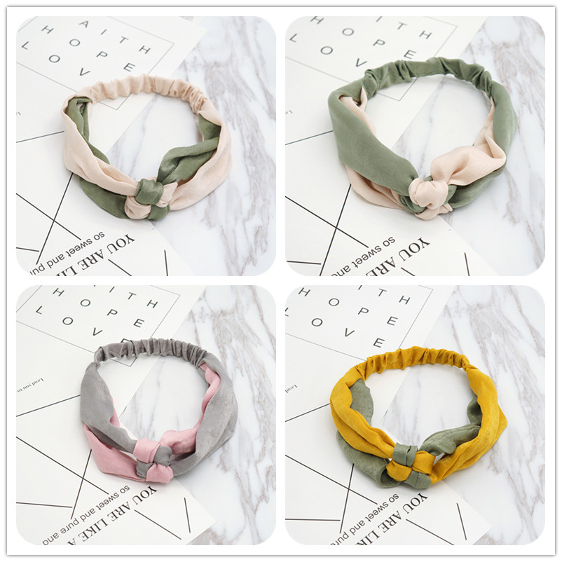 New Fashion Simple Cross Bow Patchwork Women Elegant Elastic Headband Hair Holder Ornament Bandanas Hair Accessories Hairbands