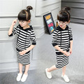 Real Children Clothing 2016 New Girls Clothes Kids Girl's Sports Long Sleeved Sweater + Bag Hip Skirt Suit T046