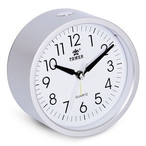 4 inch Round Silent Analog Alarm Clock Non Ticking, Gentle Wake, Beep Sounds, Increasing Volume, Battery Operated Snooze& Light