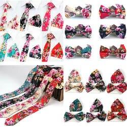 Мужские цветок хлопка регулируемый галстук платок Боути галстук комплект 6 цветов BWTYF0004