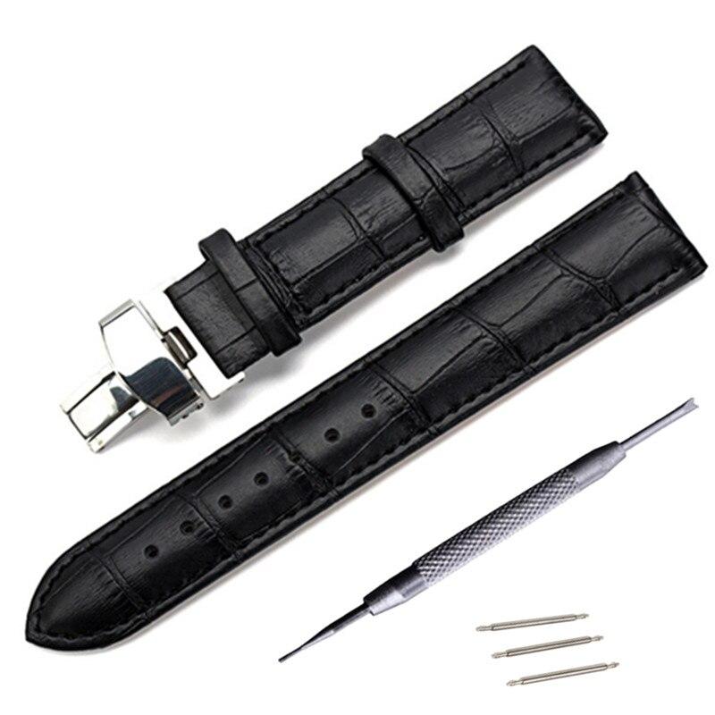 Echten Lederband für Tissot Longines Mido Hamilton Uhrenarmband Dornschließe Handschlaufe 14 16 17 18 19 20 21 22 23 24mm