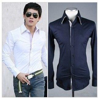 7dda896353a 2012 New Men Temperament Slim Fit Shirt With False Contrast Collar 2Colors  M L XL Size CSA06