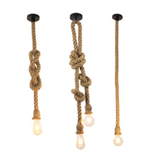 цена на Manual Creative Rope Chandelier 110v-220v Dining-room Lamp Restoring Ancient Ways Decorative Chandelier Lights