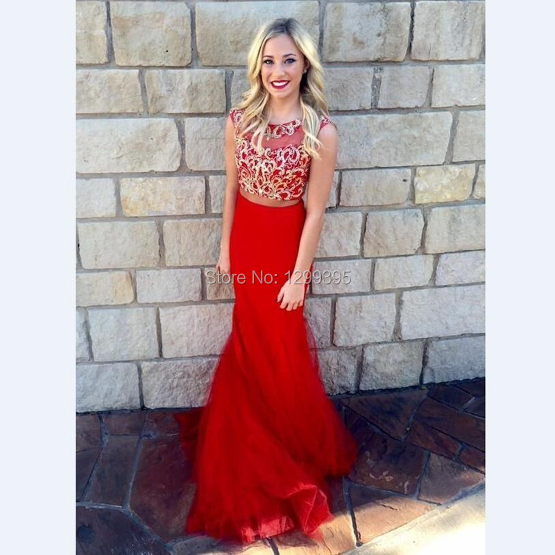 e665f8f81673 2016 New Fashionable Sexy Sleeveless 2 Piece Prom Dress Long Tulle  Appliques Red Mermaid Prom Dress 2016