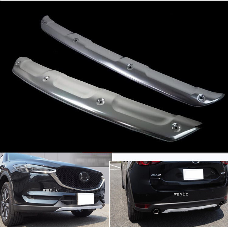 304 Stainless steel Front and Rear <font><b>Bumper</b></font> Protector Plate Sill Guard <font><b>for</b></font> <font><b>Mazda</b></font> <font><b>CX</b></font>-<font><b>5</b></font> CX5 KF 2017 2018 <font><b>2019</b></font> image
