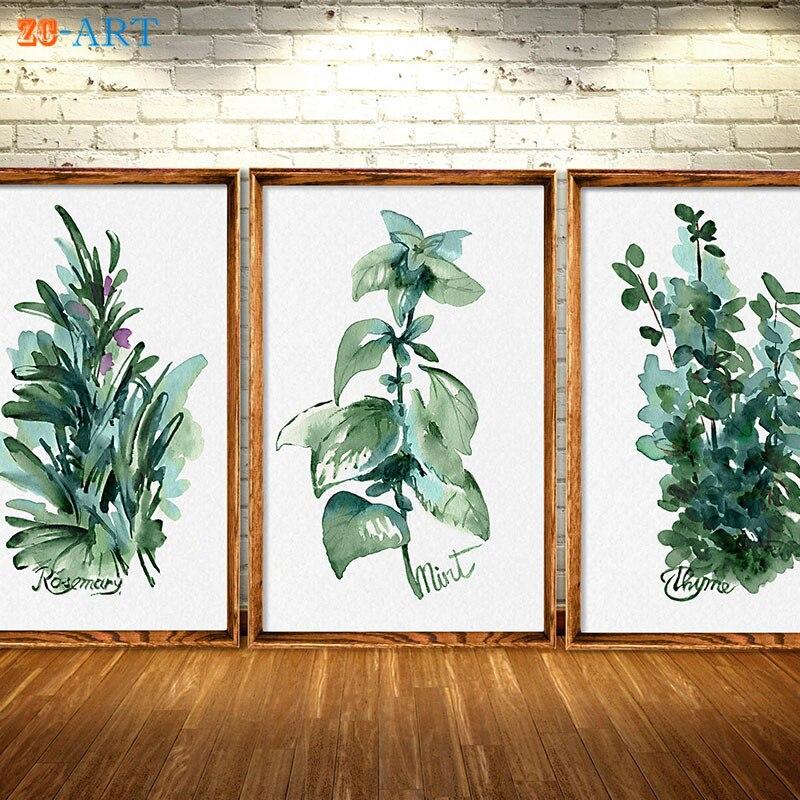 ᐂArte enmarcado lona hierbas cocina arte impresiones verde hojas de ...