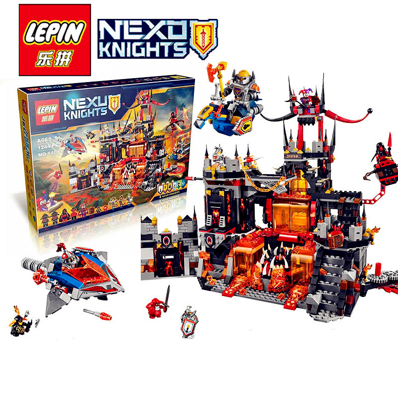 ФОТО 1244 PCS LEPIN 14019 Nexus Knights Chevaliers Axl Jestros Volcano Lair Combinaison Marvel Model Building Block Compatible 70323