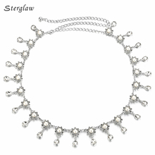 Pearl embellishment water drops waist chain belt women 2017 thin metal pearl woman belt with Belly dance performance clothing