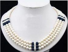 white Bababetty Design 3 ROWS 7-8MM white AAA SOUTH SEA pearl necklace Handmade wedding Gift for women sterling-silver-jewelry