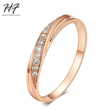 6 Items Classical Cubic Zirconia Lovers Ring Rose Gold Color Rhinestones Studded Wedding Rings Jewelry For