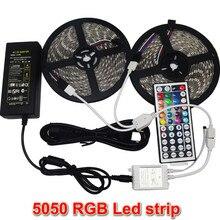 10 M 2*5 m SMD 5050 LED Luz de Tira Impermeable DC12V RGB Diodo Cinta + 44Key Remoto + 6A Adaptador de Corriente Del Transformador para La Decoración