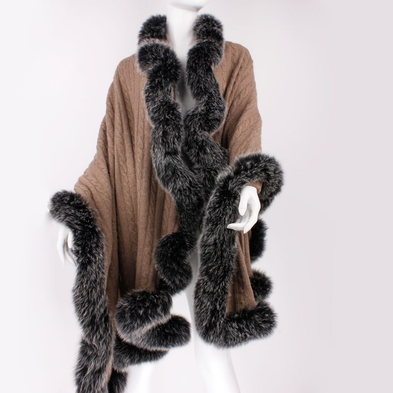 ponchos and capes Cashmere shawl with fur natural fox fur scarf autumn winter knitted long evening ladies winter scarf F123