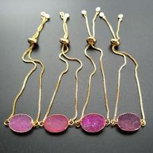 5pcs Gold color chain hot pink Crystal druse Geode quartz charm Connector,Fashion Design Adjustable Bracelet Jewelry Making B105
