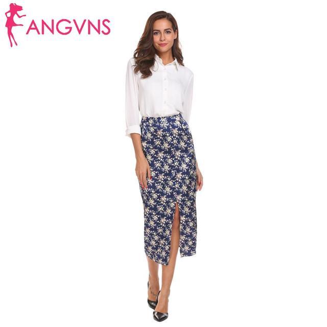 ANGVNS Summer floral print bohemian korean side split high waist boho Vintage button