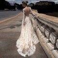 Liyuke X29 Elegante Do Laço Da Colher Vestidos de Noiva Beading Apliques de Renda Trem Da Varredura Backless A Linha de Vestidos de Casamento Vestido De Noiva