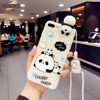 KISSCASE 3D Cases For iphone 6 7 8 Plus Case Coque With String Toy Panda Silicon Transparent Case For iphone 6 6s Case Fundas iPhone
