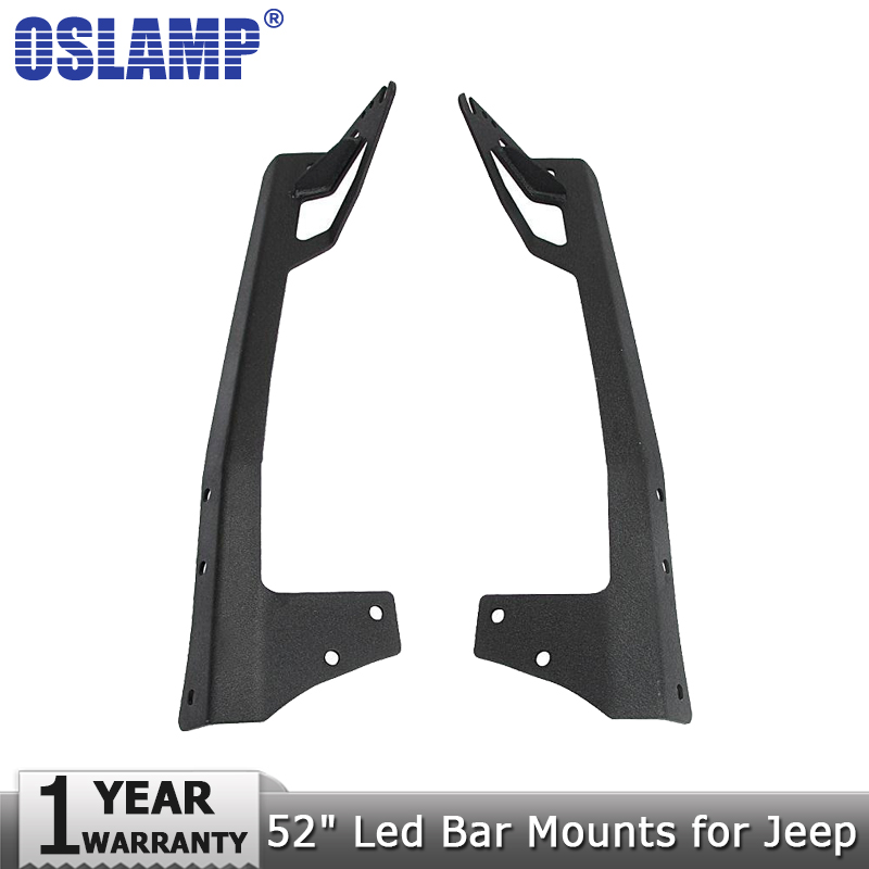 Oslamp A pair of 52 Straight Led Light Bar Mounts Upper Windshield Mounting Brackets for Jeep Wrangler JK 2007~2015 auxmart 22 led light bar 3 row 324w for jeep wrangler jk unlimited jku 07 17 straight 5d 400w led light bar mount brackets