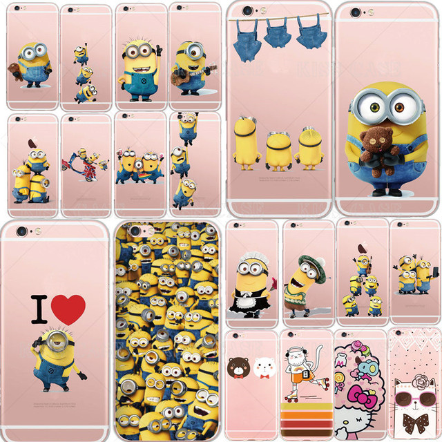 Cute Cartoon Despicable Me Yellow Minion Panda Design Phone Case Cover For iPhone 5 5s 6 6s Plus 7 Case Soft Silicon Cover Coque
