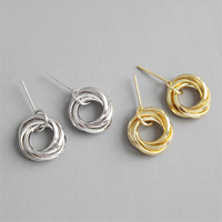 Fashion Sterling Silver S925 Ear Nail For Women Wedding Jewelry Temperament Geometry Multilayer Winding Circle Stud Earrings