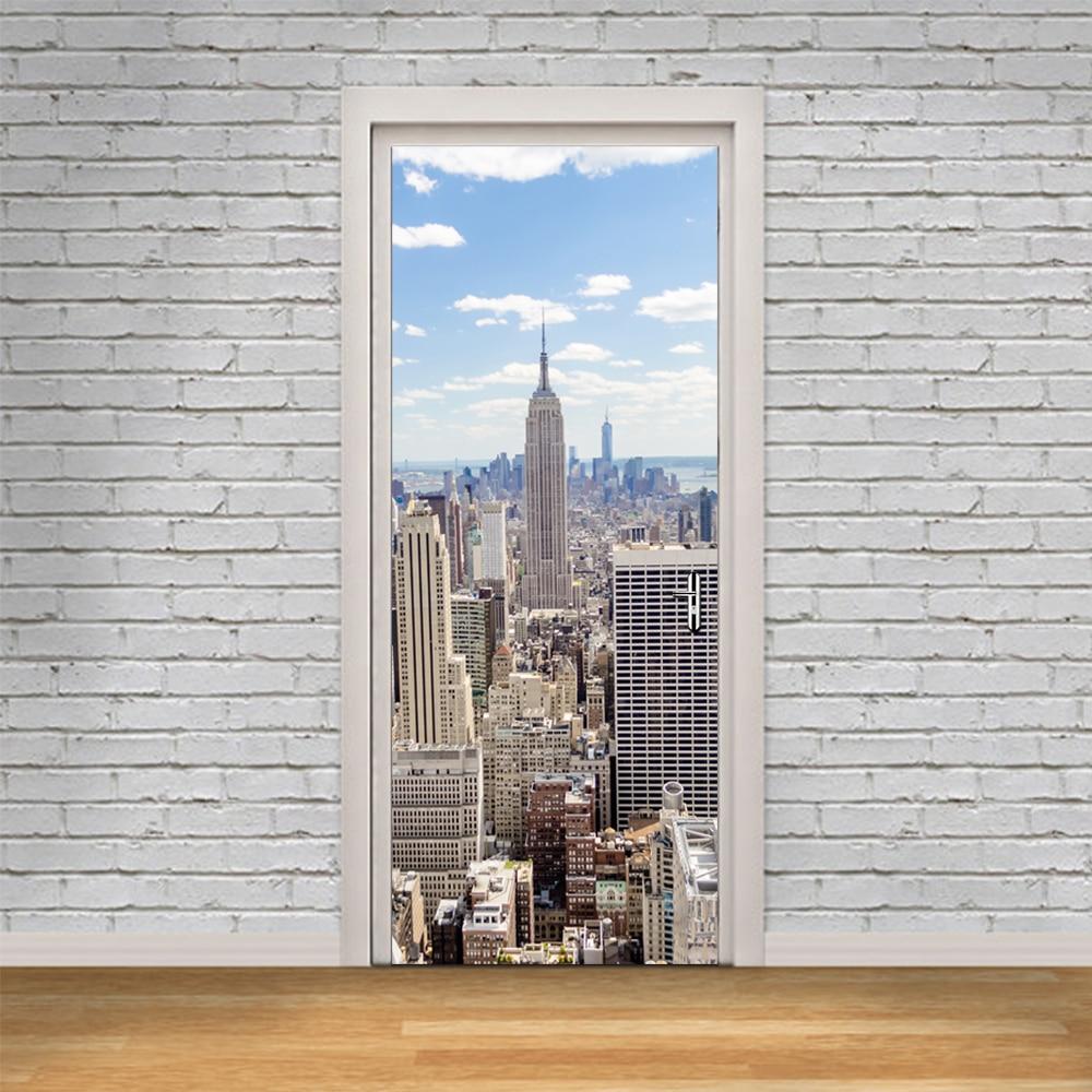 3D New York Manhattan Imitation Door Stickers Wall Sticker Wallpaper Wooden Waterproof Bedroom Home Decoration