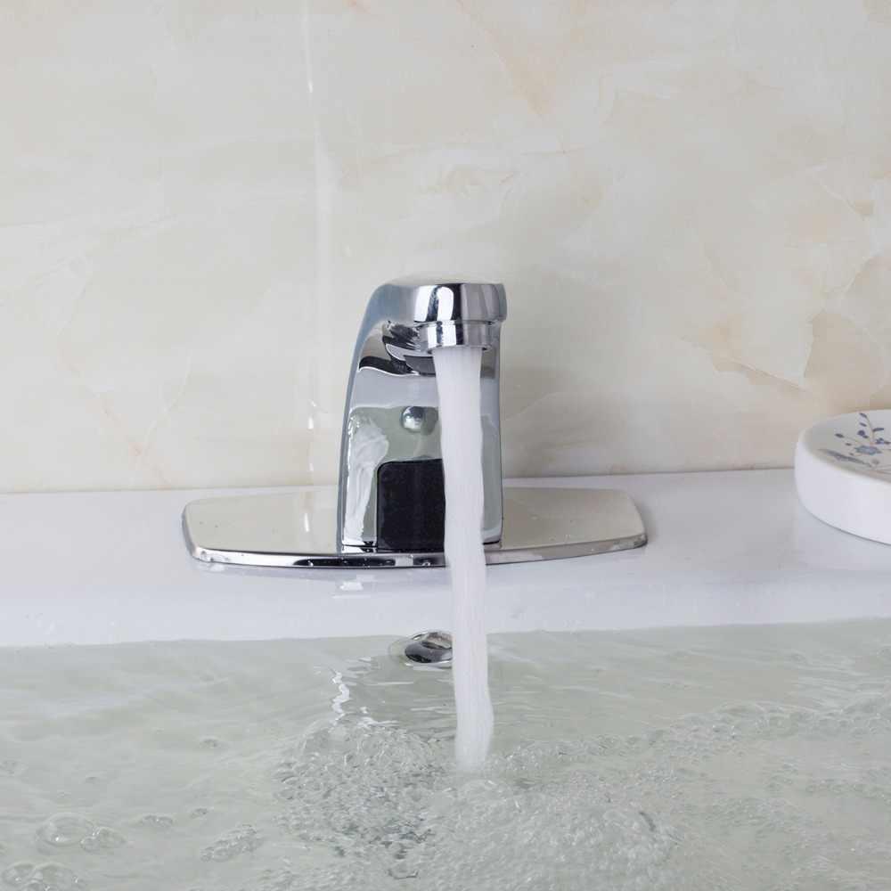 אוטומטי חיישן ברז זהב כרום סיים סיפון רכוב נירוסטה אמבטיה לשטוף אגן Touchless אינפרא אדום ברז