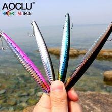 Aoclu wobbler super qualidade 4 cores 10.5cm 27g hard bait minnow manivela vib stik iscas de pesca baixo água salgada fresca 4 # vmc ganchos