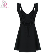 Summer Ruffle Backless Mini Black Dress Women Spaghetti Strap Deep V Neck Tied Back Sleeveless Sexy Pleated Party Dresses