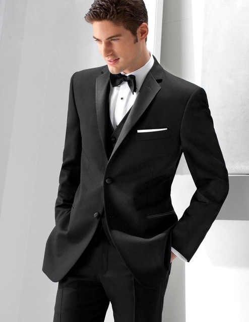 Popular Style Two Button Black Groom Tuxedos Groomsmen font b Men s b font font b
