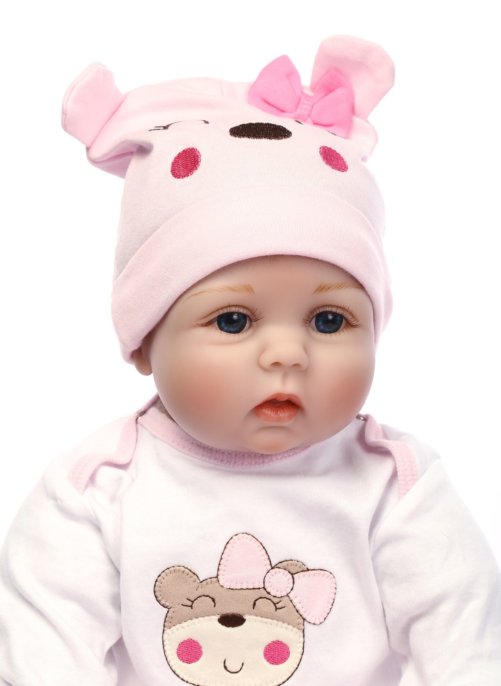Reborn Doll 55CM Soft Silicone Reborn Baby Dolls Vinyl Toys Big Dolls For Girls 2-7 Years Old Baby Dolls With Blouse Cloth 1